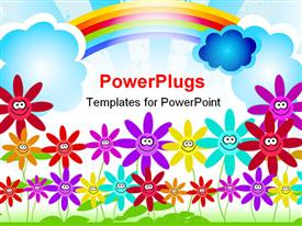 PowerPoint template displaying childish representation of colorful flowers and rainbow in the sky