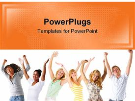 PowerPoint template displaying six young friends lift hands in celebration on white background