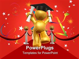 PowerPoint template displaying graduation day won the red carpet way 3D
