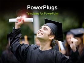 PowerPoint template displaying close-up of happy graduant with diploma and graduation cap