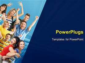 PowerPoint template displaying group of happy young people enjoying with arms up in air