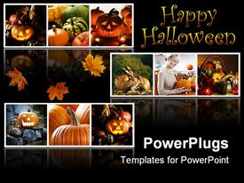 PowerPoint template displaying happy Halloween collage with Jack o lantern, pumpkins, gourds, fall autumn leaves