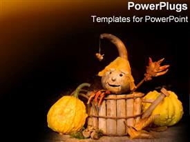 PowerPoint template displaying halloween figure in wooden basket next to old pumpkins