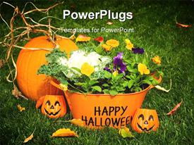 PowerPoint template displaying halloween time with carved pumpkins and basket filled with flowers
