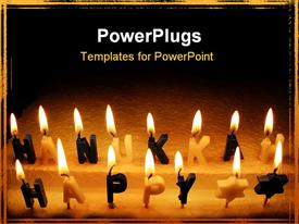 PowerPoint template displaying hanukah Candles in the glow for Hebrew holiday in the background.