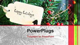 PowerPoint template displaying a tag on a Christmas tree with a text that spells out
