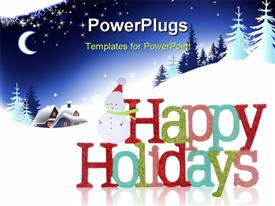 PowerPoint template displaying colorful Happy Holidays sign and snowman with houses and tree in the background