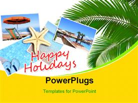 PowerPoint template displaying holiday collage over a beach with different pictures of water, star fish, beach tree