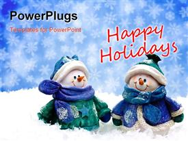 PowerPoint template displaying two snowman spending holidays with a bluish background