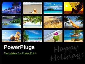 PowerPoint template displaying a number of pictures depicting the enjoyment on the beach