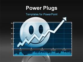 PowerPoint template displaying 3D smiley character on the background of a chart with an arrow