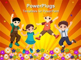 PowerPoint template displaying four happy kids jumping in garden of flowers in yellow background