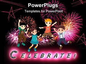 PowerPoint template displaying cartoon children jumping with fireworks, stars, celebrate