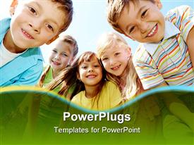 Happy kids outdoor looking at camera powerpoint design layout
