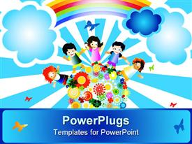 PowerPoint template displaying a paingting of four happy school kids standing on an earth with flowers