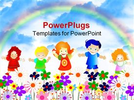PowerPoint template displaying kids playing