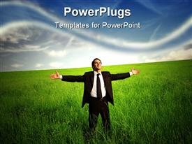 PowerPoint template displaying businessman standing with open arms on a green meadow in the background.