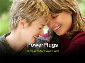 PowerPoint template displaying a mother and a daughter happy on reunion