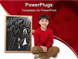 PowerPoint template displaying happy Mother's Day chalkboard drawing with boy child, mother in red background