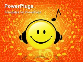 Happy Smiley Face button wears Headphones and a Musical Note symbol shows he is listening to music powerpoint design layout