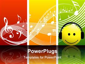 Smiley music with earphone smiling and listen music presentation background