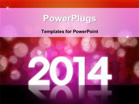 PowerPoint template displaying 2012 Happy new year background with beautiful bokeh