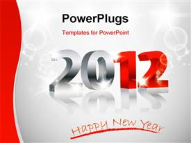 PowerPoint template displaying 2012 Happy New Year card, 3D design