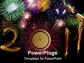 PowerPoint template displaying celebration sparklers writing 2011 against black background, zero replaced by circular pink firework