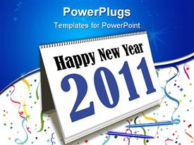 PowerPoint template displaying two pens sitting on desk filled with colorful ribbons and table calendar