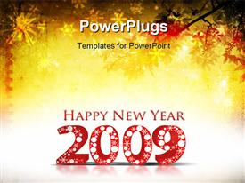 PowerPoint template displaying grunge background with 2009 element for design - New Year background