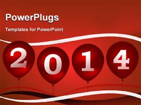 PowerPoint template displaying new year depiction with balloons in sky over red surface