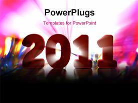 PowerPoint template displaying new year depiction with new year text over colorful background