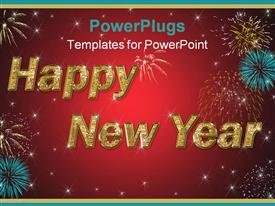 PowerPoint template displaying happy new year golden text on red background with stars