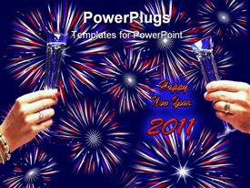 Large field of red white and blue fireworks on solid blue background powerpoint theme