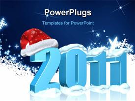 New year 2011 date with Santa's hat powerpoint design layout