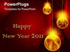 PowerPoint template displaying new Year card background, Christmas holiday in the background.