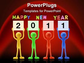 PowerPoint template displaying yellow, green, red, blue figures holding 2011 signs below Happy New Year