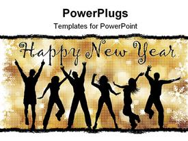 PowerPoint template displaying lots of people jumping for joy with a Happy New Year text