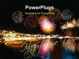 PowerPoint template displaying water reflecting night fireworks in seashore holiday resort festive
