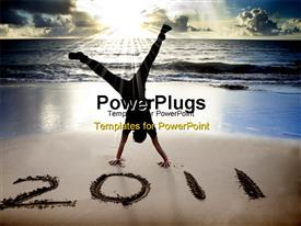 Happy new year 2011 on the beach of sunrise . young man handstand and celebrate powerpoint design layout