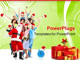 Christmas happy funny people and Santa template for powerpoint