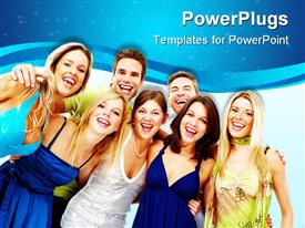 PowerPoint template displaying group of young happy people in party clothing having fun
