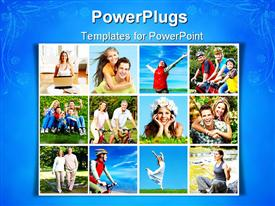 PowerPoint template displaying smiling people playing in parks, outdoors