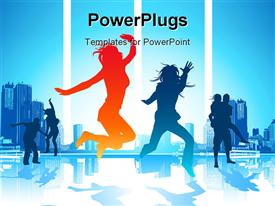 PowerPoint template displaying happy Jumping People See my gallery for more high quality depictions