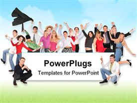 PowerPoint template displaying happy and successful team celebrate with white board