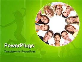 PowerPoint template displaying a number of people being happy with greenish background