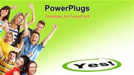PowerPoint template displaying young happy people in the background.