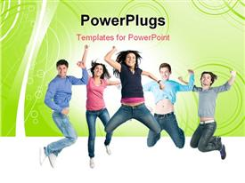 PowerPoint template displaying happy active group of young friends jump together with fun in the background.
