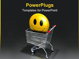 Large yellow smiley face protruding out of a silver metallic shopping cart template for powerpoint