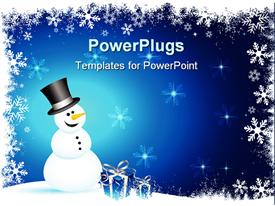 PowerPoint template displaying happy snowman with gifts on a snowy background